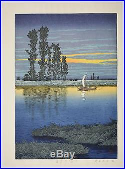 HASUI KAWASE Japanese woodblock print ORIGINAL Shin-hanga Ushibori no Yugure