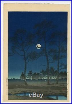 HASUI KAWASE, WINTER MOON, TOYAMAGAHARA, Lifetime Ed, Japanese Woodblock Print