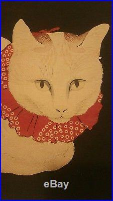 HIROAKI TAKAHASHI SHOTEI Tama White Cat, Original JAPANESE Woodblock Print