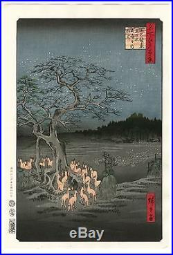 HIROSHIGE JAPANESE Large WOODBLOCK PRINT Fox Fires at Hackberry Tree in Oji