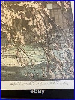 HIROSHI YOSHIDA posthumous print Japanese woodblock spring In A Hot Spring