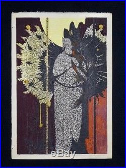 HODAKA YOSHIDA Japanese Woodblock Print BUDDHA STATUE (UNIQUE OPPORTUNITY)