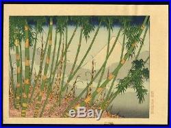 HOKUSAI JAPANESE Chuban Woodblock Print Mt. Fuji Behind a Bamboo Grove