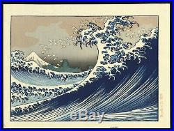 HOKUSAI JAPANESE Mid 20th Woodblock Print Kaijo no Fuji The Great Wave