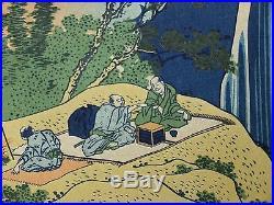 HOKUSAI JAPANESE OBAN Woodblock Print Waterfall AMIDA Falls on the KISOKAIDO