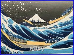HOKUSAI Japanese OBAN WATANABE Woodblock Print GREAT WAVE OFF KANAGAWA
