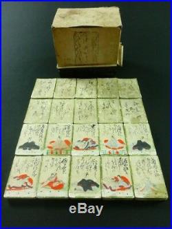 HYAKUNIN ISSHU Japanese Woodblock Print & Hand Tinted Cards 100 Poems EDO 809