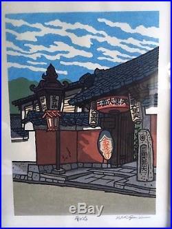 Hand Signed KATSUYUKI NISHIJIMA Japanese Woodblock Print BUNNOSUKE TEA HOUSE
