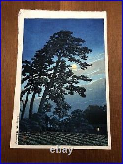 Hasui Kawase Moon At Megome 1930 Japanese Woodblock Print