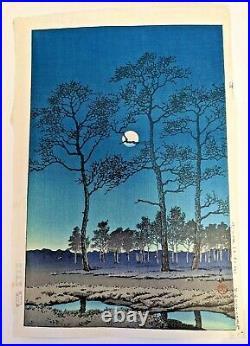 Hasui Kawase Moon of Winter Toyamagahara Wood block print