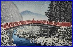 Hasui Kawase Nikko Kamihashi Japanese Woodblock Print 1930 14 × 9.5