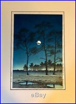 Hasui Kawase, Winter Moon Over Toyama Plain, Japanese Woodblock Print