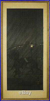 Hiroaki Shotei Takahashi (Japan, 1871-1945) Sudden Rain Japanese Woodblock Print