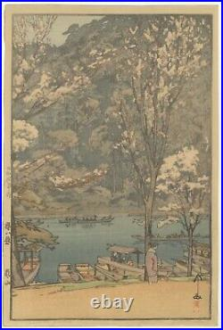 Hiroshi Yoshida, Arashiyama, Cherry Blossoms, Original Japanese Woodblock Print
