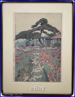 Hiroshi Yoshida Japanese Woodblock Iris Garden in Horikiri with Jizuri, FINE! NM