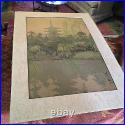 Hiroshi Yoshida, Japanese Woodblock, Original Famous Artist. Sarusawa Pond
