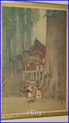 Hiroshi Yoshida Japanese Woodblock Print Misty Day in Nikko