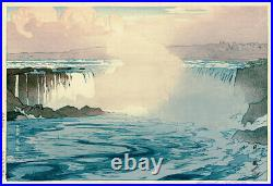 Hiroshi Yoshida Japanese woodblock print Niagara Falls
