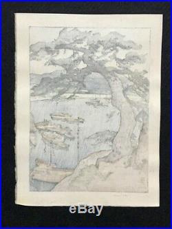 Hiroshi Yoshida Little Harbor Japanese Woodblock Print