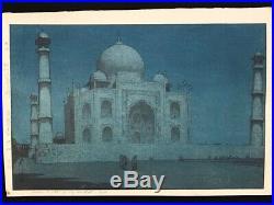 Hiroshi Yoshida Moon Light Taj Mahal Japanese Woodblock Print Jizuri