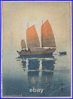 Hiroshi Yoshida Sailing Boats Morning Japanese Woodblock, Fine & Framed