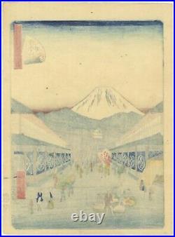 Hiroshige II, Mount Fuji, Edo, Landscape, Original Japanese Woodblock Print