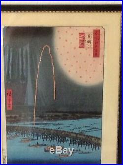 Hiroshige Woodblock In Frame 1920s Adachi Reprint