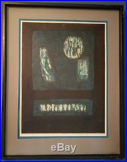 Hiroyuki Tajima 1968 Abstract Japanese woodblock print Twilight 50-4