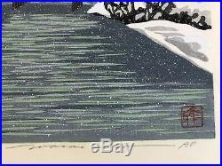 IDO MASAO Japanese Woodblock Print Snow on Gion Canal Very Rare Artist's Proof