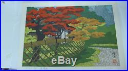 Ido Masao Japanese Woodblock Print Temple Autumn (S2)