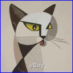 Inagaki Tomoo Abstract Cat Original Woodblock Print Oban Ed. 15/50 Signed