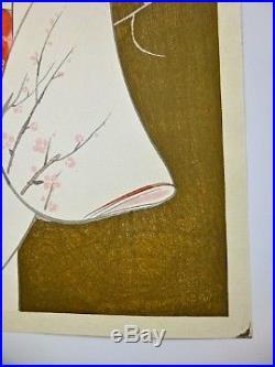 Iwata Sentaro, Original Shin Hanga Japanese Woodblock Print Of Geisha Courtesan