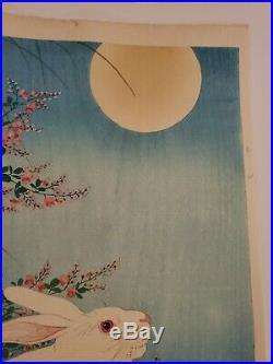 JAPANESE OHARA KOSON Woodblock Print Rabbits and the Moon