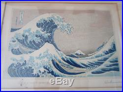 JAPANESE WOODBLOCK BY Katsushika Hokusai, THE GREAT WAVE SIGNED IN PENCIL
