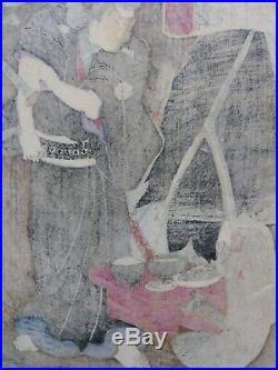 JAPANESE WOODBLOCK PRINT 1866 YOSHITOSHI RARE early ORIGINAL monkey warrior cave