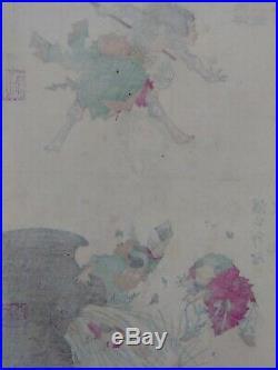JAPANESE WOODBLOCK PRINT 1881 YOSHITOSHI ORIGINAL uncut RARE tattooed warrior