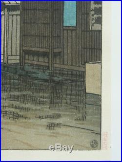 JAPANESE WOODBLOCK PRINT By KAWASE HASUI KAWASE BELL TOWER IN RAIN AT OKUYAMA