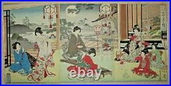 JAPANESE WOODBLOCK TRIPTYCH-Ukiyo-e-Women At Leisure-Tea Ceremony-1880s