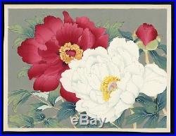 JAPANESE Woodblock Print Hanga Flower Peonies BOTAN