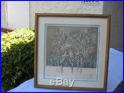 JOICHI HOSHI SIGNED 1976 JAPANESE WOODBLOCK TREE SERIES PRINT WithMAT/FRAME