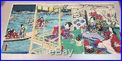 Japanese 19th Century C1864 Kunisada II Triptych Woodblock Print