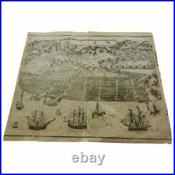 Japanese Antique Map and View of Yokohama, 1861, Rare Early Woodblock Print