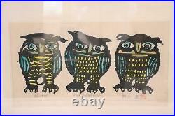 Japanese Iwao Akiyama woodblock print owl Tradition New Creation