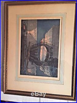Japanese Modern YOSHIJIRO MOKUCHU URUSHIBARA Wood Block Print Venice