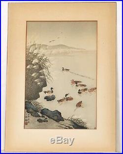 Japanese Ohara Koson Woodblock Print Wild Ducks and Pampas Grass Watanabe Seal