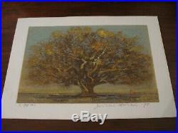 Japanese Original Woodblock Joichi Hoshi 1975 Great Tree Signed Beautiful