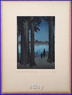 Japanese Shoda Koho Original Woodblock Print-ueno Park-hasegawa Night Scenes