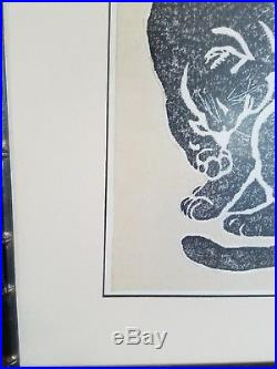 Japanese Wood Block Print Cat Sadanobu Hasegawa Framed 13.5 x 16.25 50's