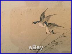 Japanese Wood Block Print DUCKS LANDING IN FLOWERED LAKE 10x13 in 27x19 frame