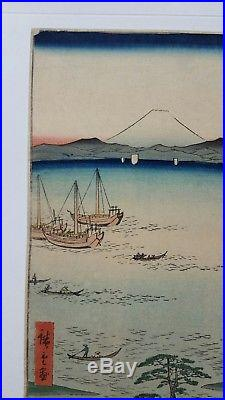 Japanese Woodblock Print By Hiroshige Original Authentic Antique 1858